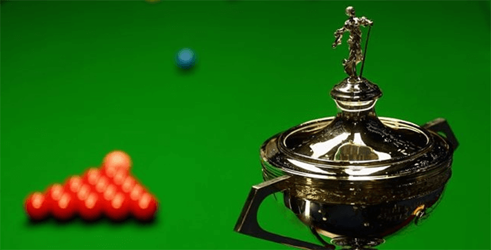 Snooker balls and champion cup